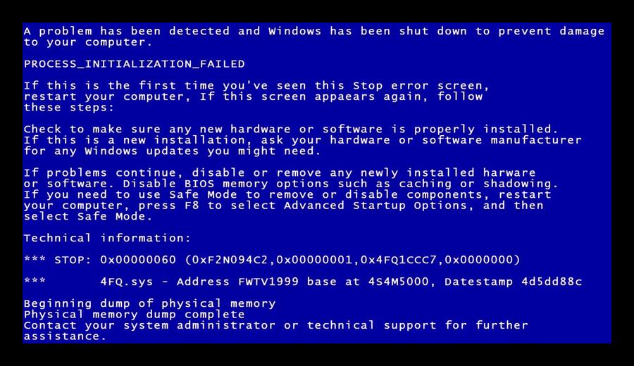 Синий экран смерти видеокарты