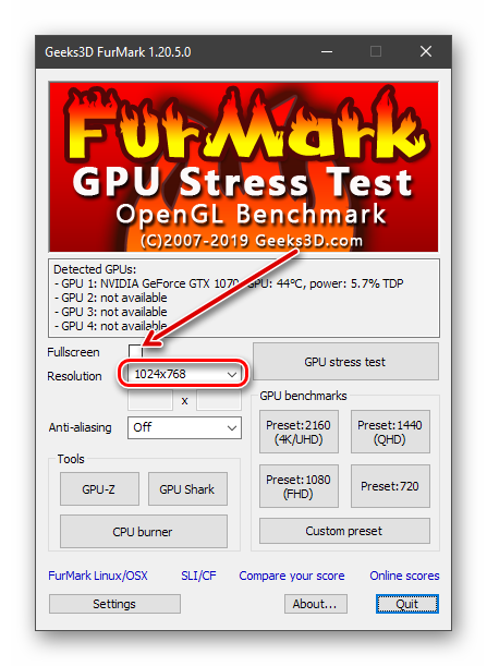 Настройка разрешения перед проведением стресс-теста в программе Furmark