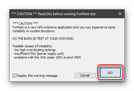 Подтверждение запуска стресс-теста видеокарты в программе Furmark