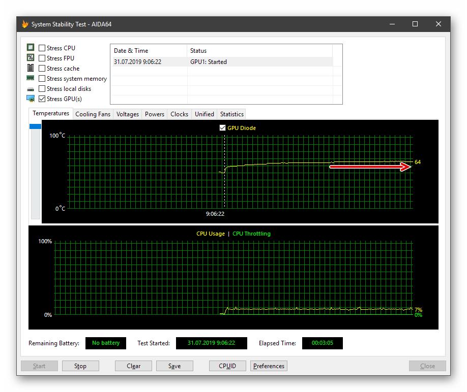 Стабилизация графика температуры при стресс-тесте видеокарты в программе AIDA64