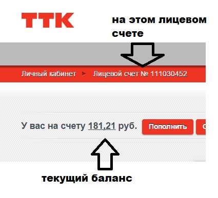 Личный кабинет ТТК: Оплата, остаток на счете, обещанный платеж