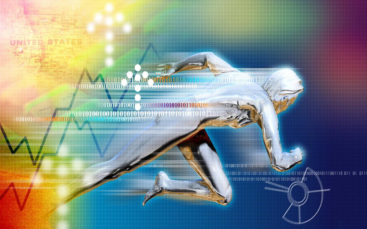 Виртуальное изображение кода и бегущего человека