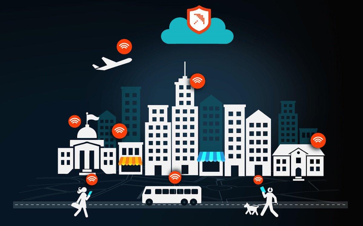 Изображение городской улицы с точками доступа