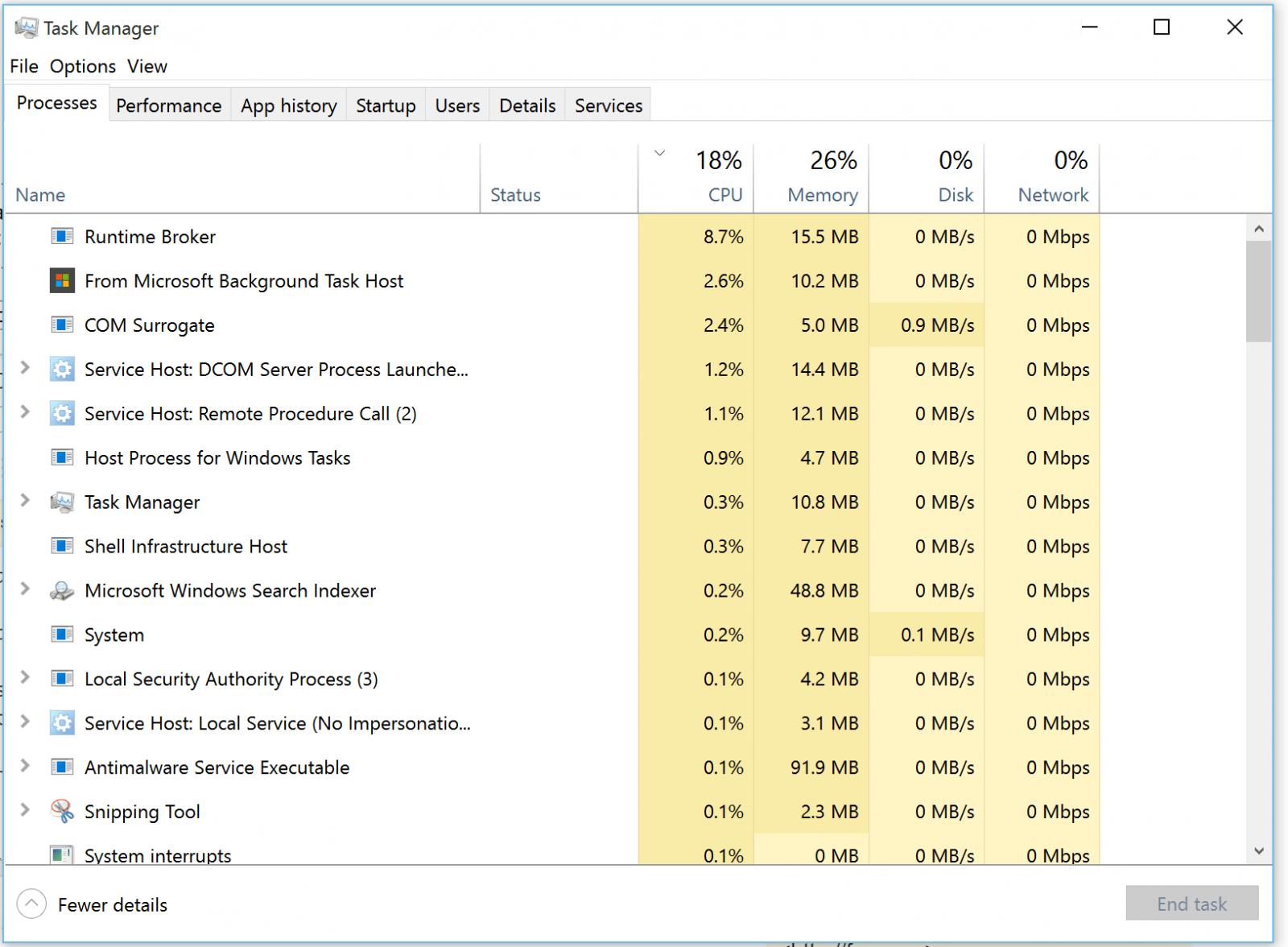 Процессы Windows 10
