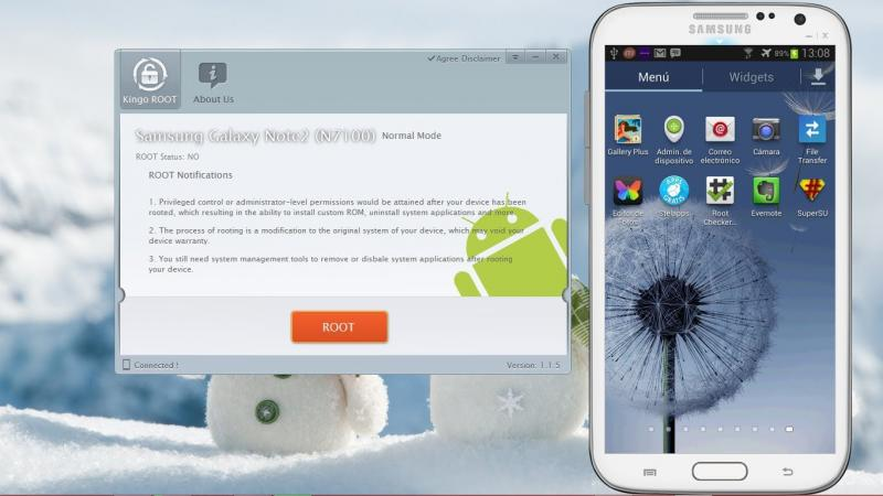 Смартфон и программа Kingo Android Root