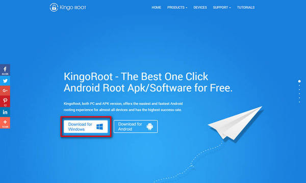 Страница загрузки Kingo Android Root на официальном сайте разработчика