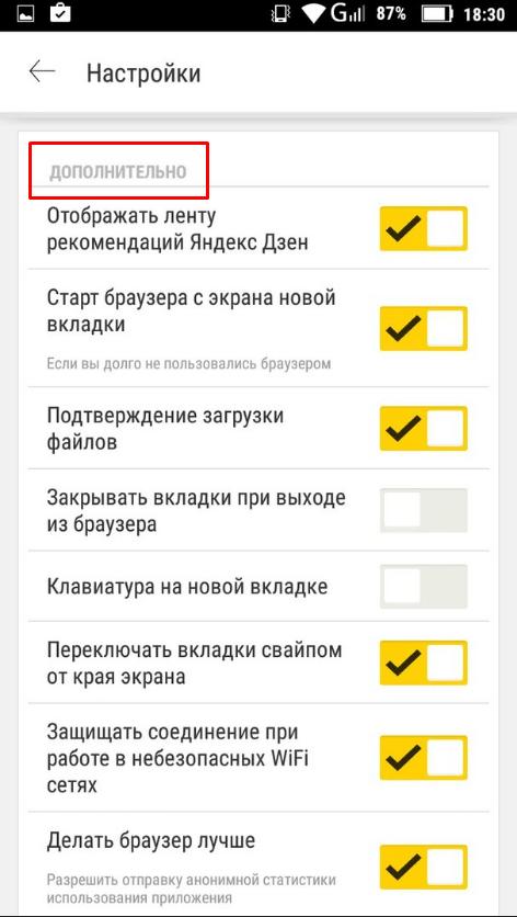 Обзор дополнительных настроек Яндекс Браузера