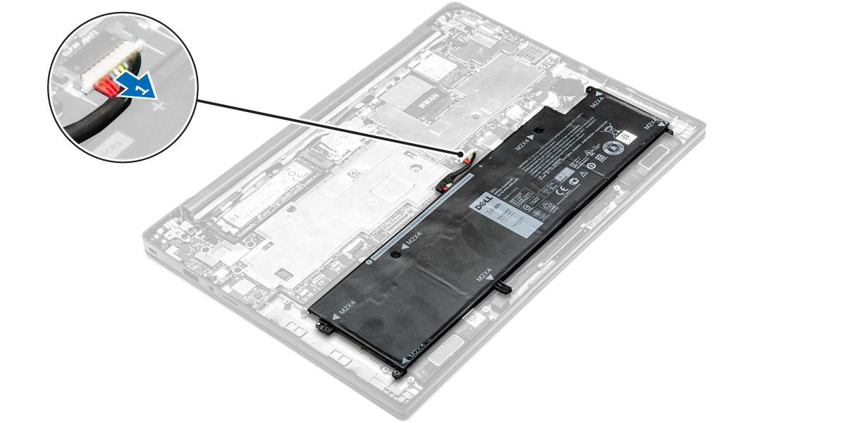 Извлечение батареии из планшета
