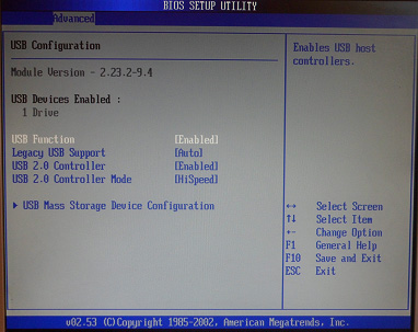 Настройки USB в AMI BIOS