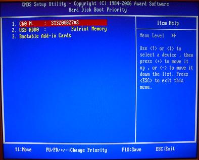 Приоритет накопителей в Award BIOS