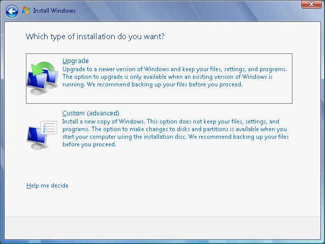 Инсталлятор Windows: «Обновить» и «Пользовательская»