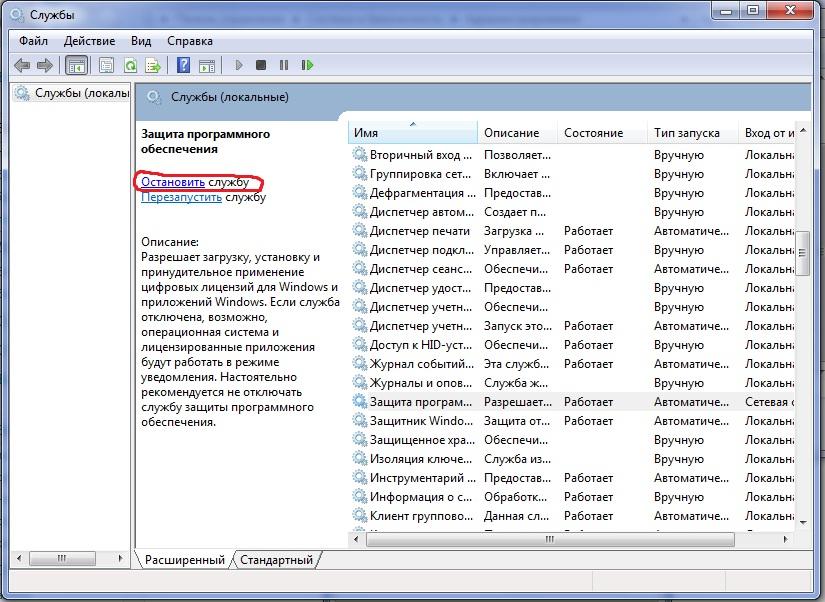 Остановка службы защиты программного обеспечения