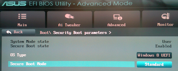 Раздел Security Boot Parameters в BIOS