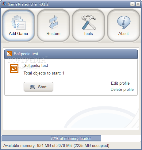 Окно программы для ускорения игр в Windows Game Prelauncher