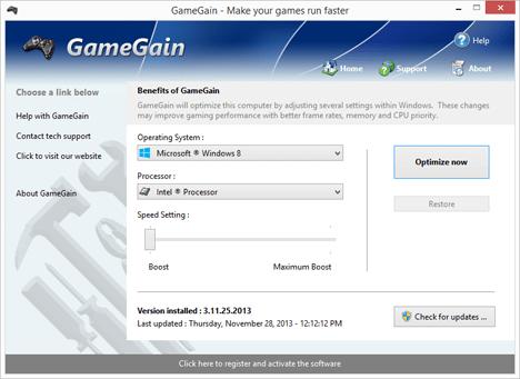 Окно программы Game Gaine