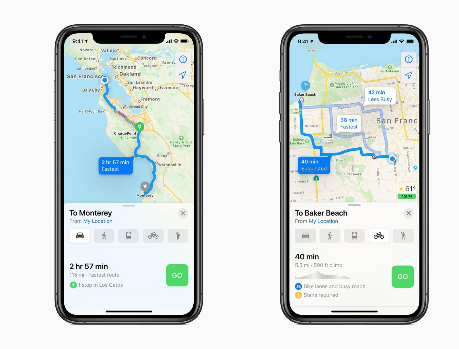 Маршруты электромобилей и велосипедов в Apple Maps (Фото: Apple)