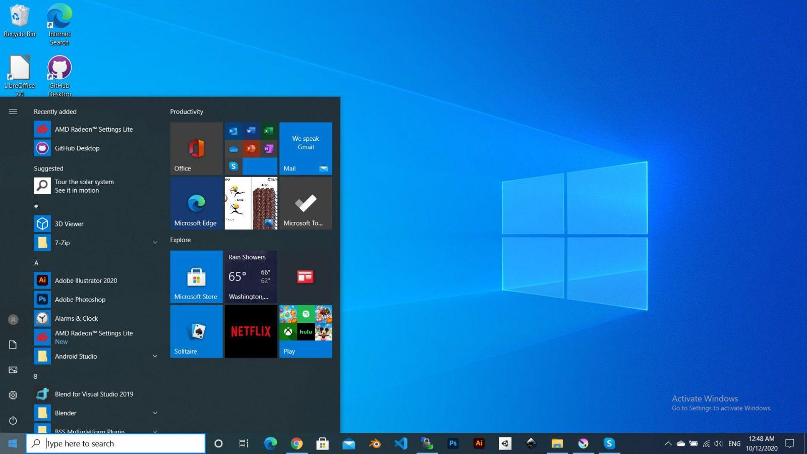 Windows 10 desktop