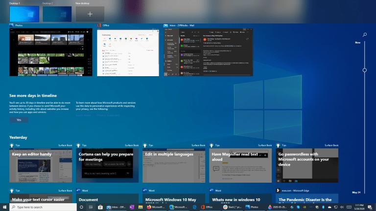 Лента активности Windows 10