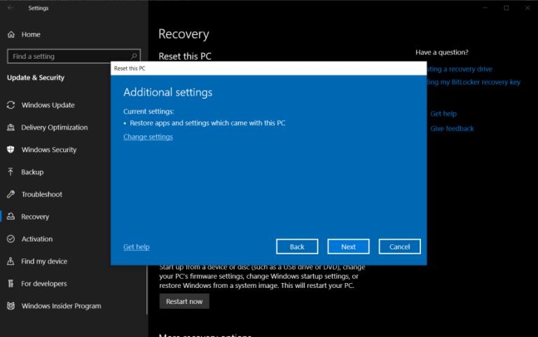 Как восстановить заводские настройки Windows 10