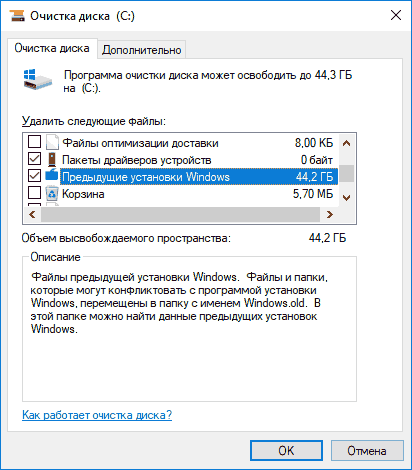Окно очистки диска С: