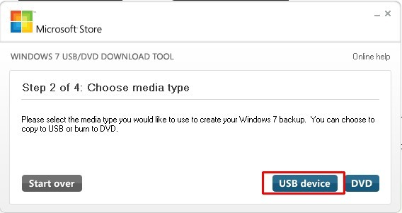 Пункт Choose media type в USB/DVD Download Tool