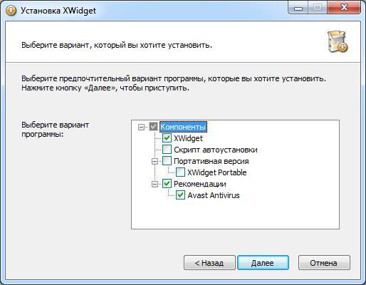 Окно установки XWidget