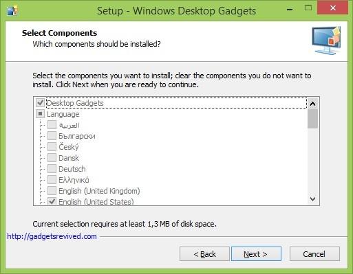 Стартовое окно установки программы Gadget Revived