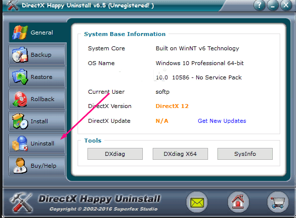 Удаление через DirectX Happy Uninstall