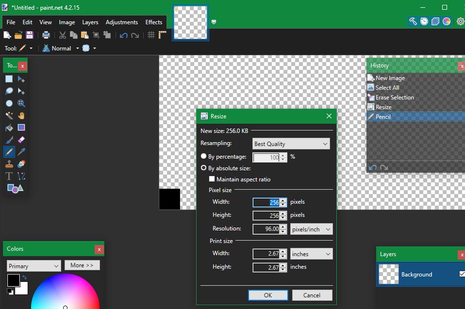 Paint-Net-Single-Pixel-Transparent